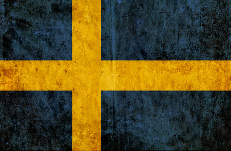 run down: Grungy paper flag of Sweden