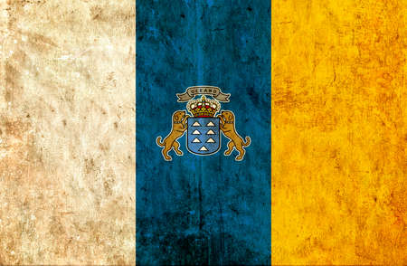 canary: Grungy paper flag of Canary Island Stock Photo