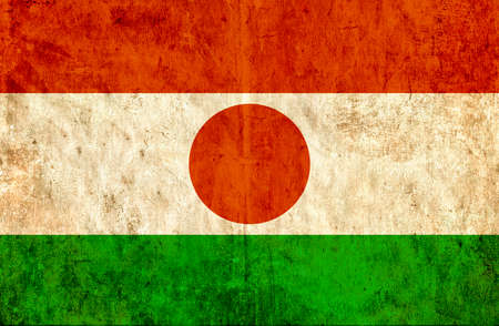 run down: Grungy paper flag of Niger