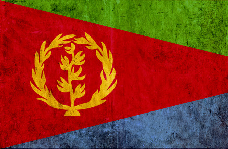 smudged: Grungy paper flag of Eritrea