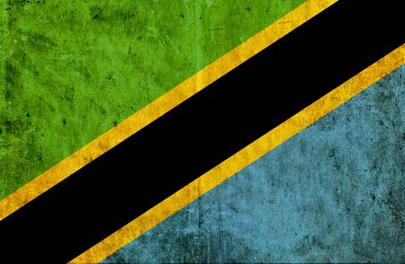run down: Grungy paper flag of Tanzania Stock Photo