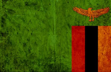 zambian flag: Grungy paper flag of Zambia Stock Photo