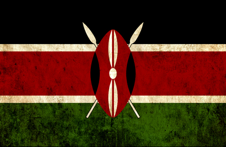 run down: Grungy paper flag of Kenya