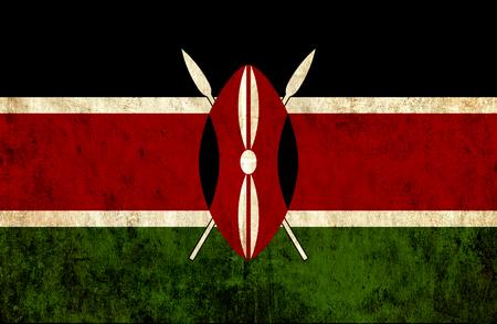 kenya: Grungy paper flag of Kenya