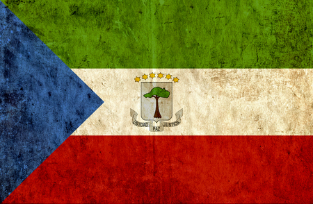 run down: Grungy paper flag of Equatorial Guinea