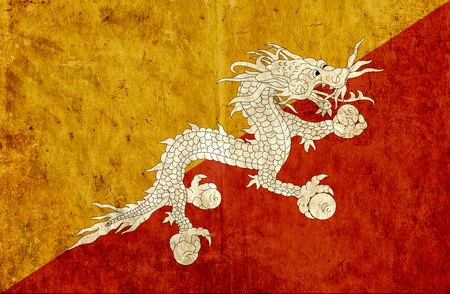 run down: Grungy paper flag of Bhutan
