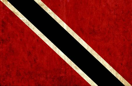 run down: Grungy paper flag of Trinidad and Tobago