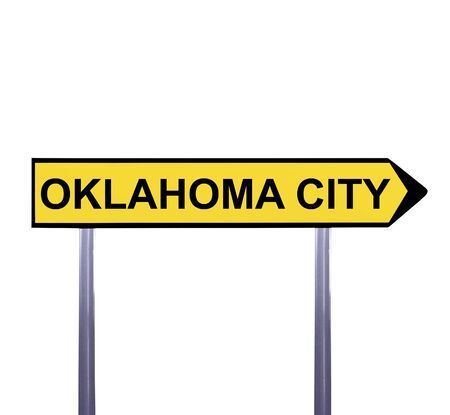 oklahoma city: Conceptual arrow sign isolated on white - OKLAHOMA CITY Stock Photo