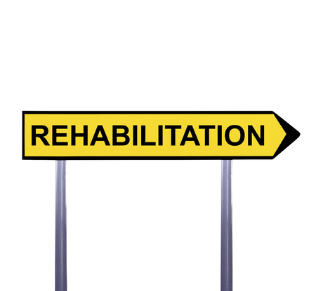 physical therapist: Conceptual arrow sign isolated on white - REHABILITATION