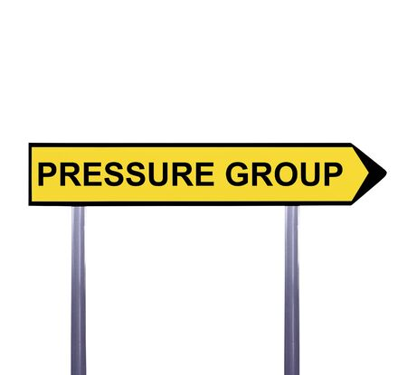 public opinion: Conceptual arrow sign isolated on white - PRESSURE GROUP