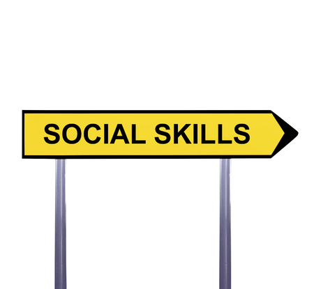 interpersonal: Conceptual arrow sign isolated on white - SOCIAL SKILLS