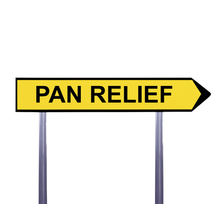 analgesia: Conceptual arrow sign isolated on white - PAIN RELIEF