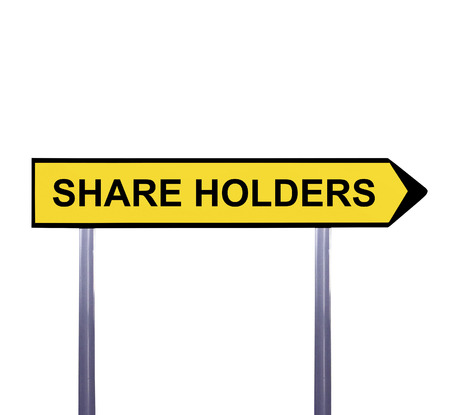 stockholder: Conceptual arrow sign isolated on white - SHARE HOLDERS Stock Photo