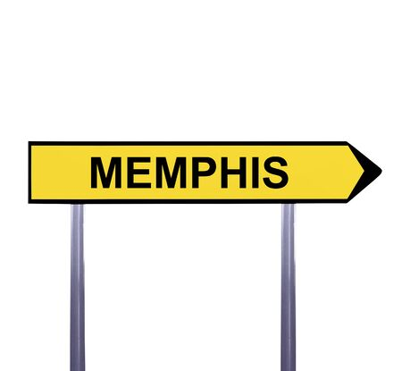 graceland: Conceptual arrow sign isolated on white - MEMPHIS Stock Photo