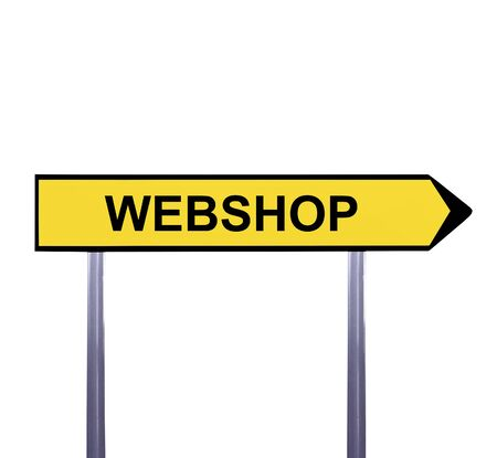 webshop: Conceptual arrow sign isolated on white - WEBSHOP