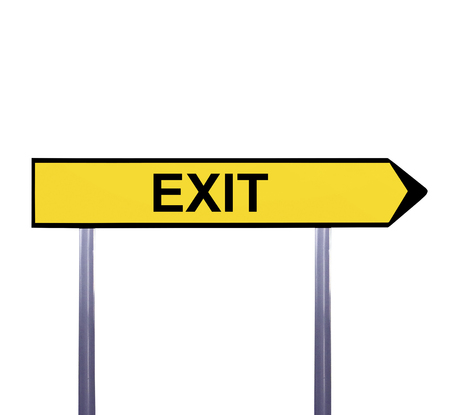 arrow sign: Conceptual arrow sign isolated on white - EXIT Stock Photo