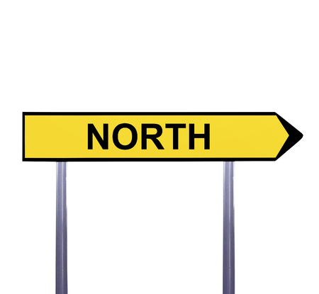 north arrow: Conceptual arrow sign isolated on white - NORTH