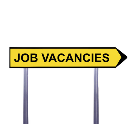 job vacancies: Conceptual arrow sign isolated on white - JOB VACANCIES