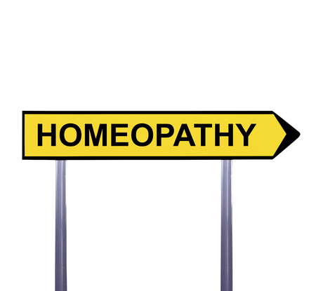 homeopath: Conceptual arrow sign isolated on white - HOMEOPATHY Stock Photo