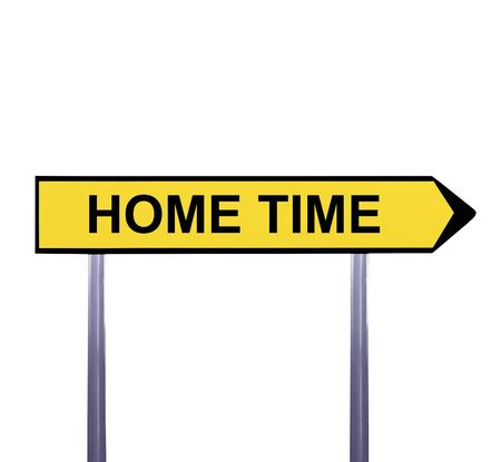 time drive: Conceptual arrow sign isolated on white - HOME TIME Stock Photo