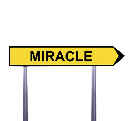 sensation: Conceptual arrow sign isolated on white - MIRACLE Stock Photo