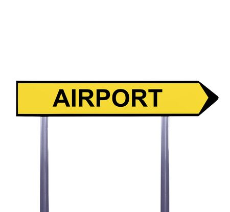 aerodrome: Conceptual arrow sign isolated on white - AIRPORT Stock Photo