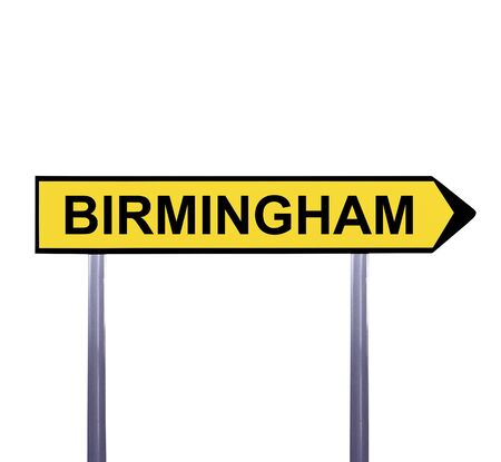 birmingham: Conceptual arrow sign isolated on white - BIRMINGHAM