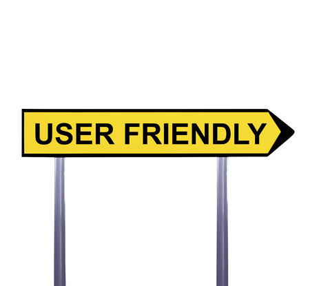 user friendly: Conceptual arrow sign isolated on white - USER FRIENDLY