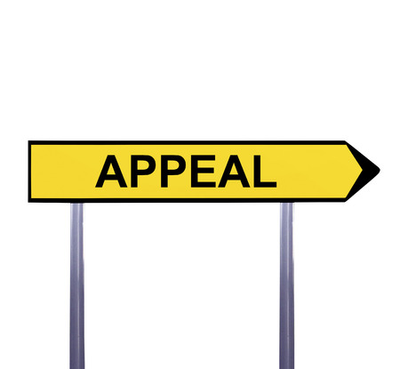 appellate: Conceptual arrow sign isolated on white - APPEAL Stock Photo