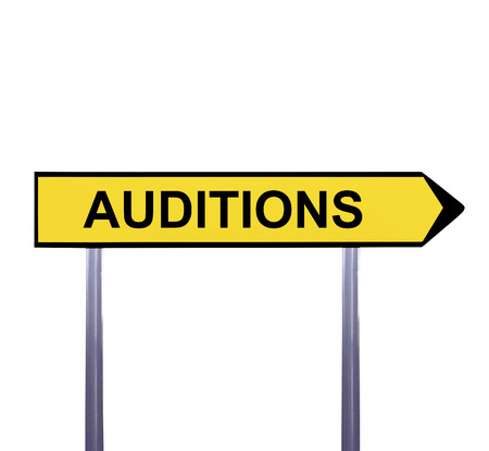film role: Conceptual arrow sign isolated on white - AUDITIONS Stock Photo