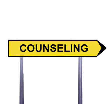 marriage counseling: Conceptual arrow sign isolated on white - COUNSELING Stock Photo