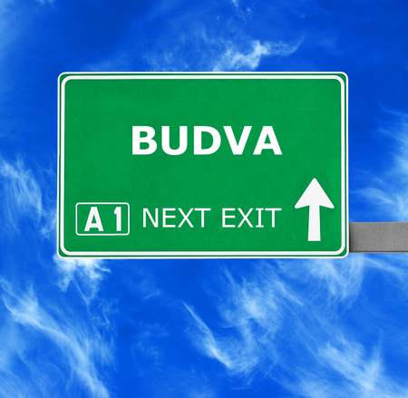 budva: BUDVA  road sign against clear blue sky