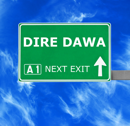 dire: DIRE DAWA road sign against clear blue sky