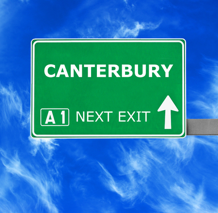 canterbury: CANTERBURY road sign against clear blue sky Stock Photo