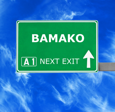 bamako: BAMAKOroad sign against clear blue sky