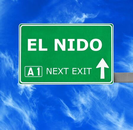 chill out: EL NIDO road sign against clear blue sky
