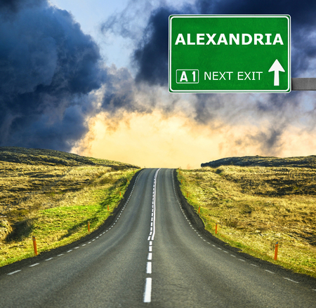alexandria: ALEXANDRIA road sign against clear blue sky Stock Photo