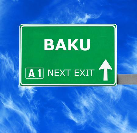 baku: BAKU road sign against clear blue sky