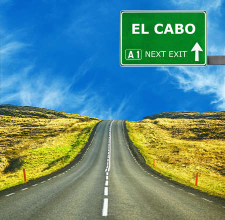 chill out: EL CABO road sign against clear blue sky Stock Photo