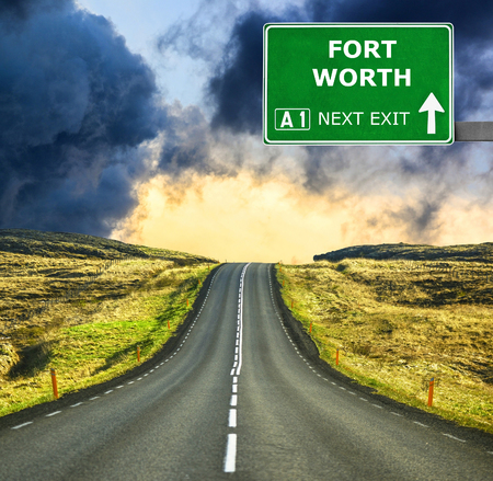 fort worth: FORT WORTH road sign against clear blue sky