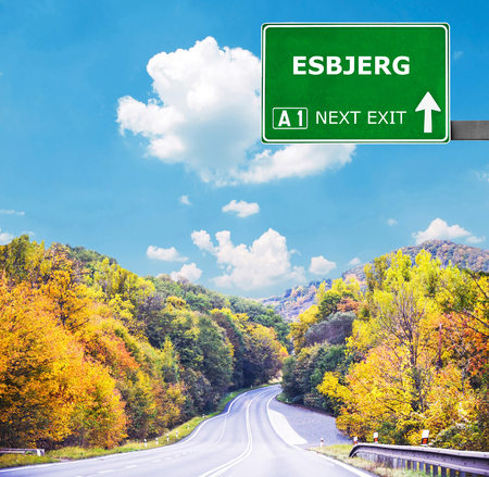 esbjerg: ESBJERG road sign against clear blue sky Stock Photo