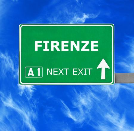 firenze: FIRENZE road sign against clear blue sky