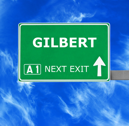gilbert: GILBERT road sign against clear blue sky