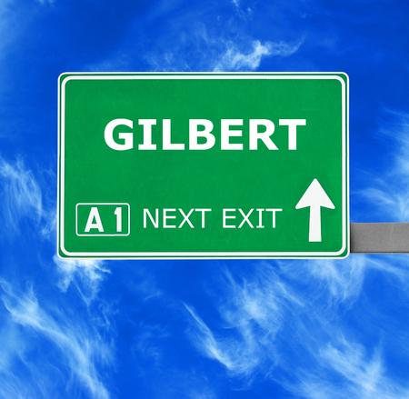 gilbert: GILBERT road sign against clear blue sky