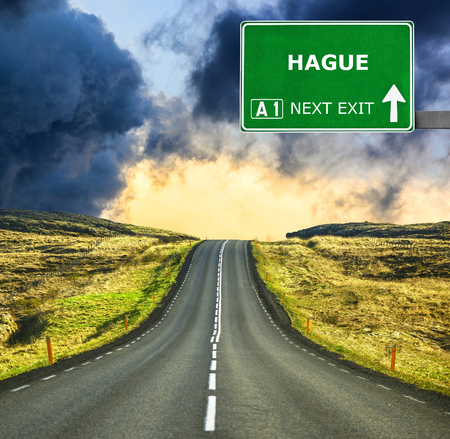 'the hague': HAGUE road sign against clear blue sky