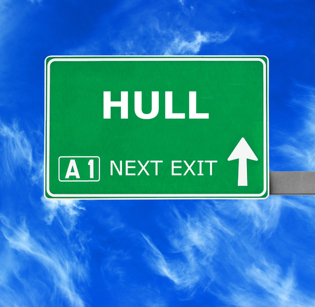 hull: HULL road sign against clear blue sky Stock Photo
