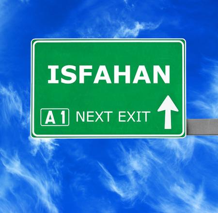 isfahan: ISFAHAN road sign against clear blue sky Stock Photo