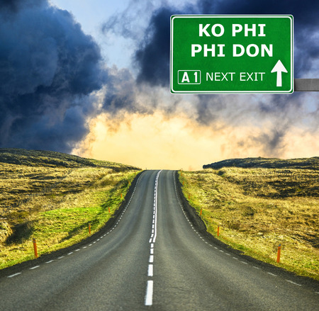 ko: KO PHI PHI DON road sign against clear blue sky