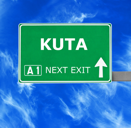 kuta: KUTA road sign against clear blue sky