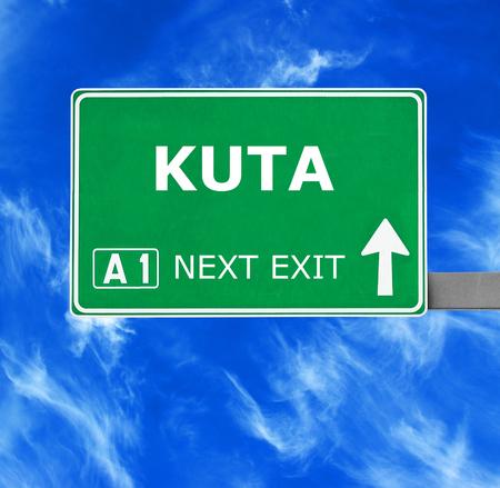 kuta: KUTA road sign against clear blue sky
